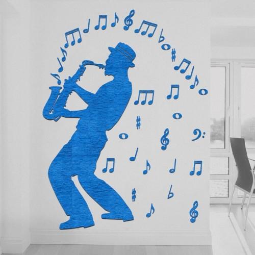 Decoración con murales de músico de jazz de Chicago para el salón