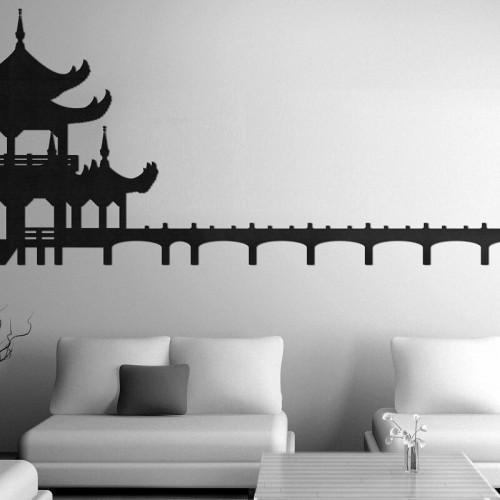 Decoracion con murales de templos budistas estilo oriental