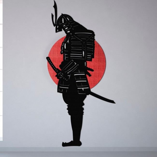 Decoracion con murales de samuráis japoneses para el salon