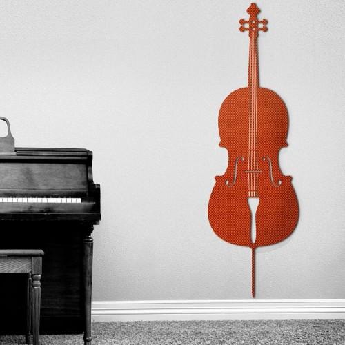 Decoracion con murales de instrumentos de Stradivarius para el salon