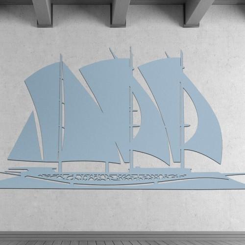 Decoracion de pared con barcos