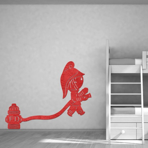 Decoración de paredes con murales de bomberos rojos para dormitorios juveniles