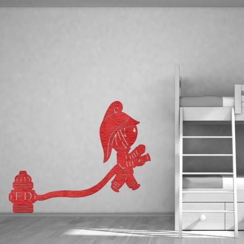 Decoración de paredes con murales de bomberos rojos para fiestas infantiles
