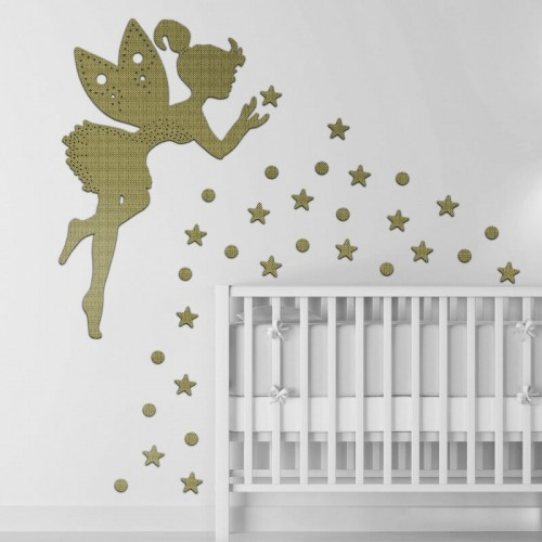 Decoración de pared con tattoos de estrellas y puntitos