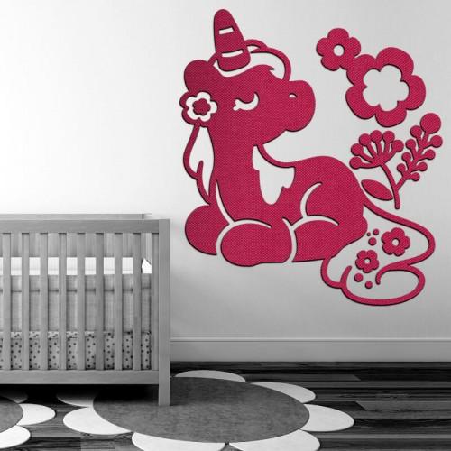 Decoración para ambientes y habitaciones de bebé con unicornio rosa en tejidos 3D