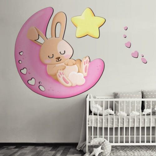 Comprar mural de conejita rosa para decorar la pared de la cuna