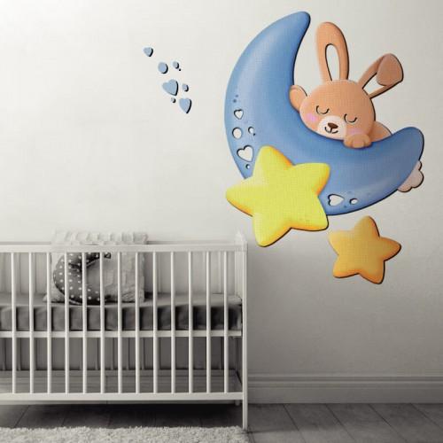 Comprar mural de conejito azul para decorar la pared de la cuna