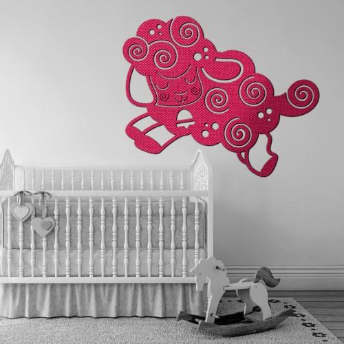 Decoracion para ambientes de bebe de ovejas en tejido 3D para la pared
